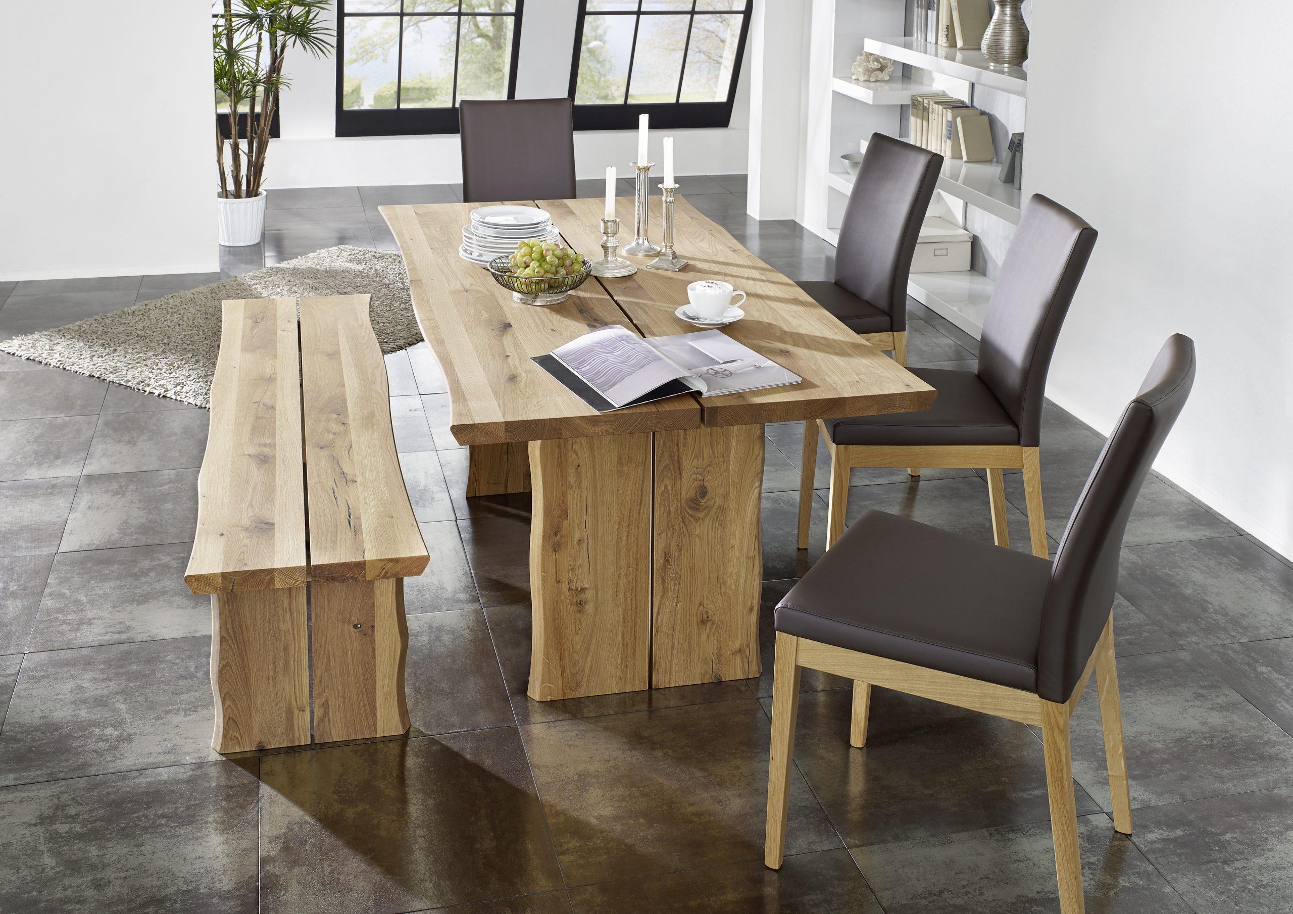 Tischgruppe Massivholz Baumtisch Wildeiche