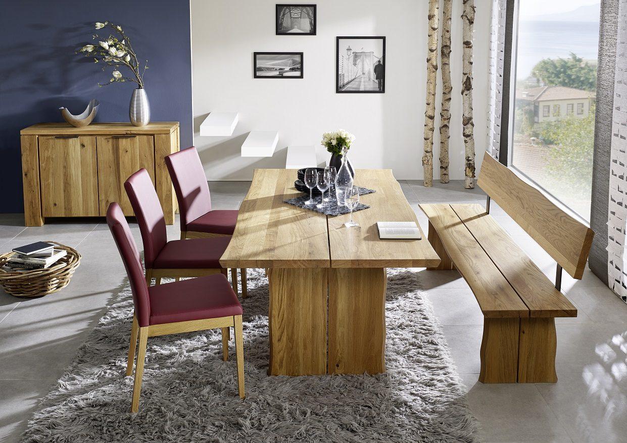 Tischgruppe Massivholz Baumtisch Wildeiche rot